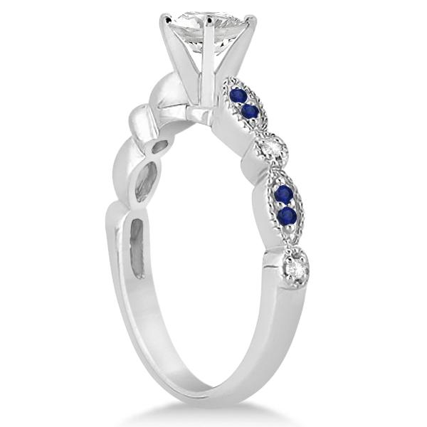 Blue Sapphire Diamond Marquise Engagement Ring Platinum 0.24ct