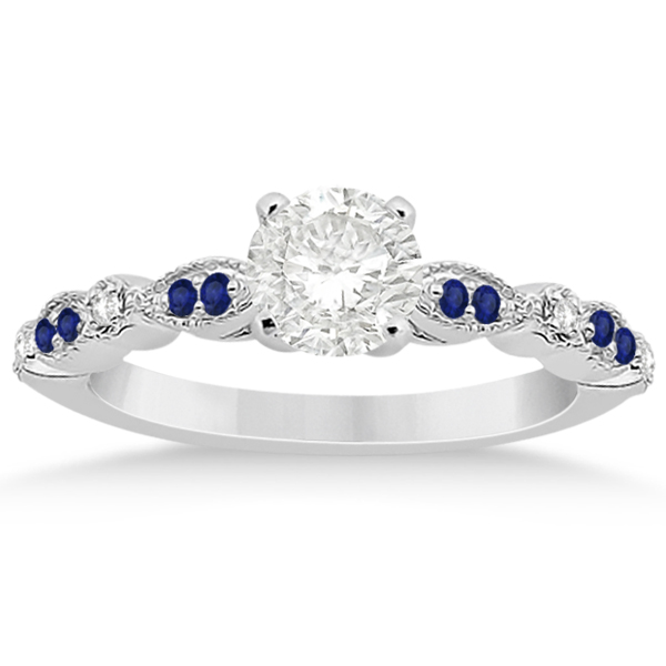 Blue Sapphire & Diamond Marquise Bridal Set Palladium (0.49ct)