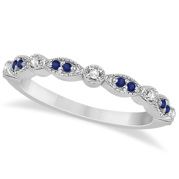 Blue Sapphire & Diamond Marquise Ring Band 14k White Gold (0.25ct)
