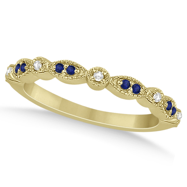 Blue Sapphire & Diamond Marquise Ring Band 18k Yellow Gold (0.25ct)