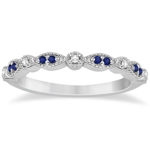 Blue Sapphire & Diamond Marquise Ring Band Palladium (0.25ct)