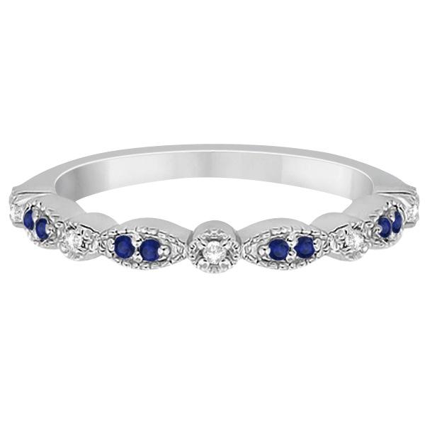 Blue Sapphire & Diamond Marquise Ring Band Platinum (0.25ct)