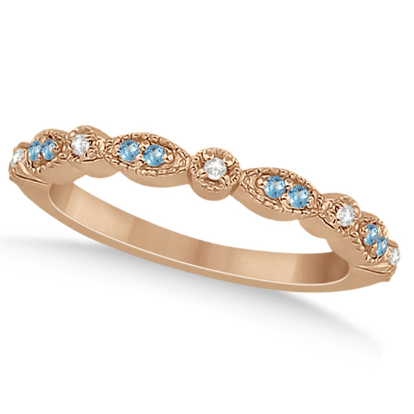 Marquise & Dot Blue Topaz & Diamond Bridal Set 14k Rose Gold 0.49ct