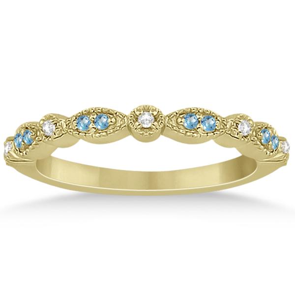 Marquise & Dot Blue Topaz & Diamond Bridal Set 18k Yellow Gold 0.49ct