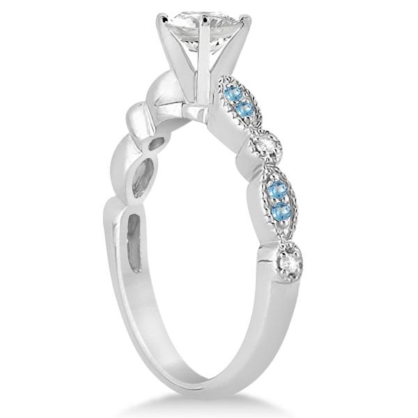 Marquise & Dot Blue Topaz & Diamond Bridal Set Platinum 0.49ct