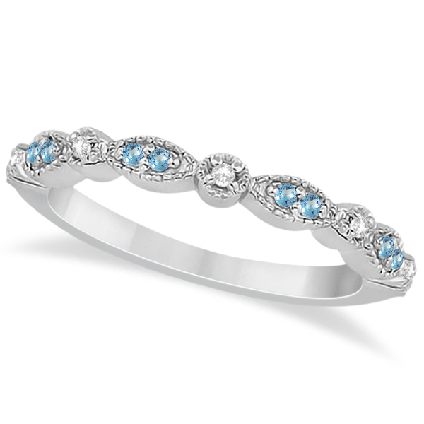 Marquise & Dot Blue Topaz & Diamond Wedding Band 14k White Gold .25ct