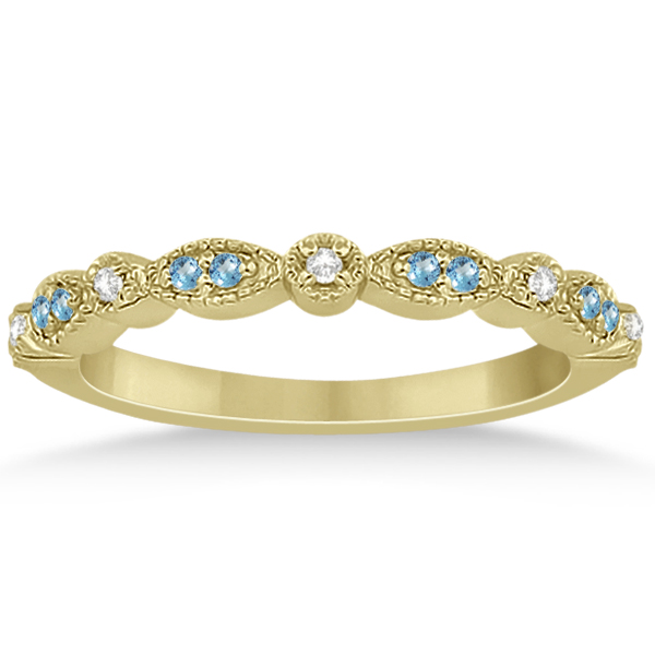 Marquise & Dot Blue Topaz & Diamond Wedding Band 14k Yellow Gold .25ct