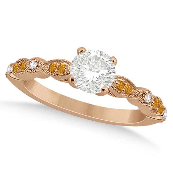 Marquise & Dot Citrine Diamond Engagement Ring 14k Rose Gold 0.24ct