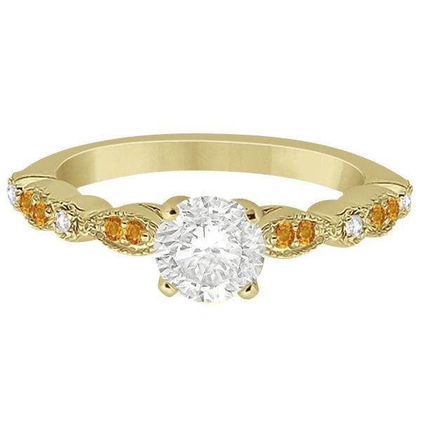 Marquise & Dot Citrine Diamond Engagement Ring 14k Yellow Gold 0.24ct