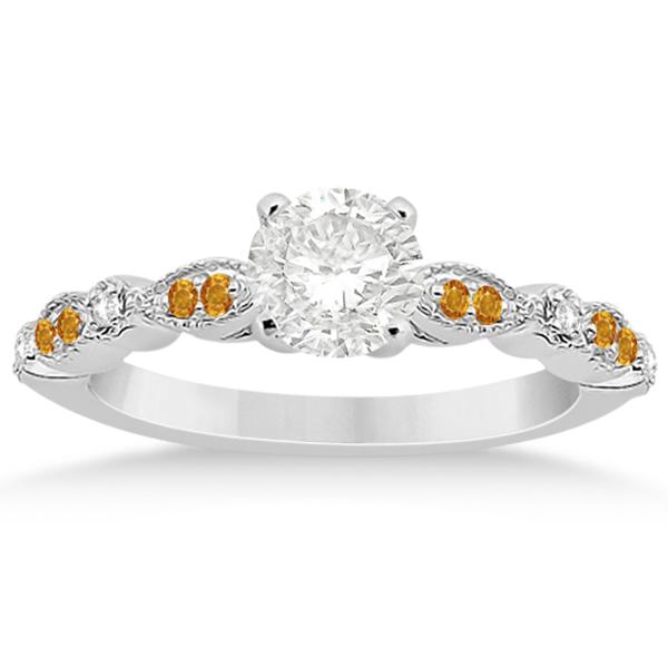 Marquise & Dot Citrine Diamond Engagement Ring 18k White Gold 0.24ct