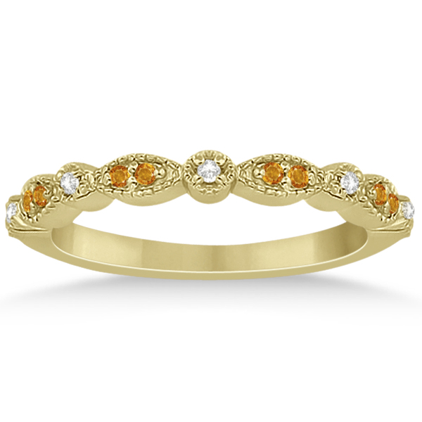 Marquise & Dot Citrine & Diamond Bridal Set 14k Yellow Gold (0.49ct)