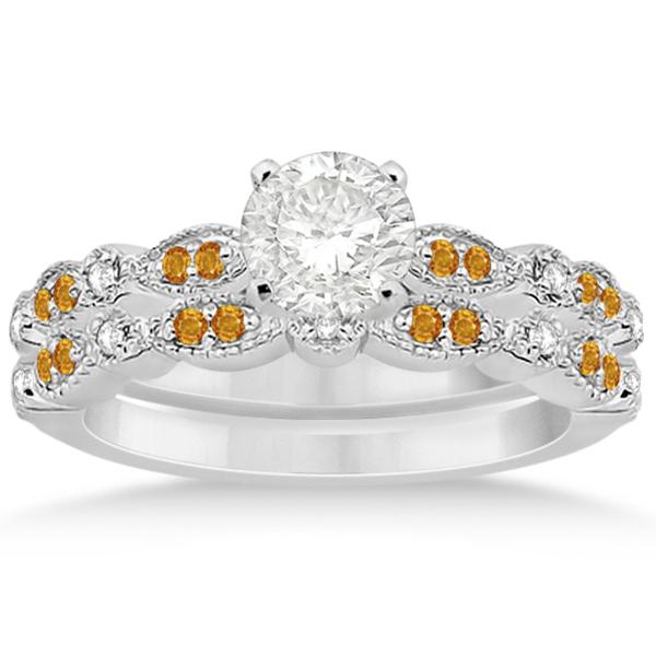Marquise & Dot Citrine & Diamond Bridal Set Palladium (0.49ct)