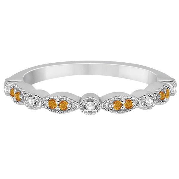Marquise & Dot Citrine & Diamond Wedding Band 14k White Gold 0.25ct