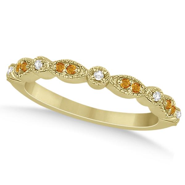 Marquise & Dot Citrine & Diamond Wedding Band 18k Yellow Gold 0.25ct
