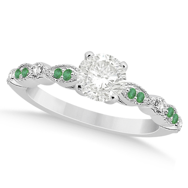 emerald marquise engagement ring 14k white gold