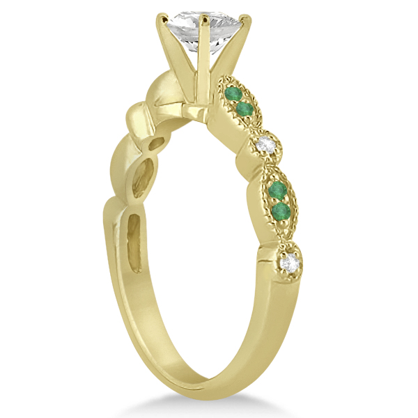 Emerald & Diamond Marquise Engagement Ring 14k Yellow Gold (0.20ct)