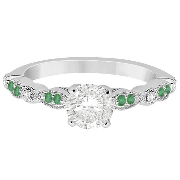 Emerald & Diamond Marquise Engagement Ring 18k White Gold (0.20ct)