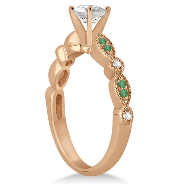 Petite Emerald & Diamond Marquise Bridal Set 18k Rose Gold (0.41ct)