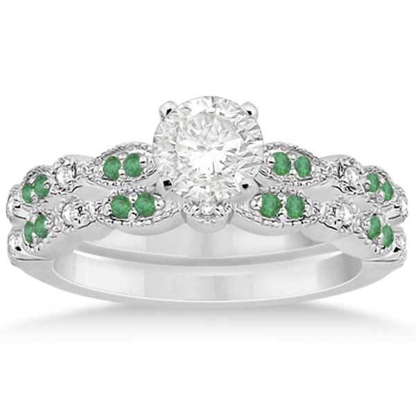 Petite Emerald & Diamond Marquise Bridal Set 18k White Gold (0.41ct)