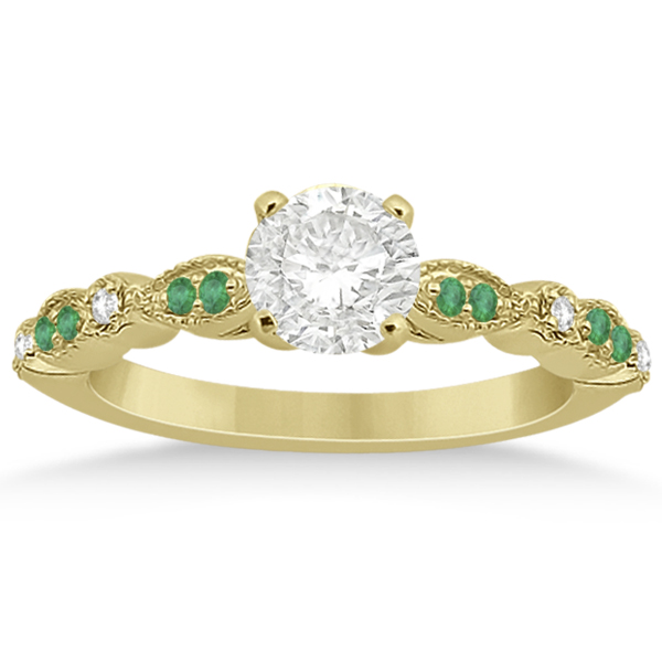 Petite Emerald & Diamond Marquise Bridal Set 18k Yellow Gold (0.41ct)