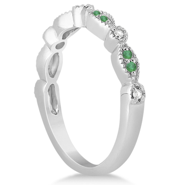 Petite Emerald & Diamond Marquise Wedding Band 14k White Gold 0.21ct