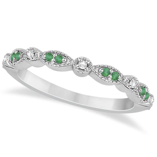 Petite Emerald & Diamond Marquise Wedding Band Platinum 0.21ct