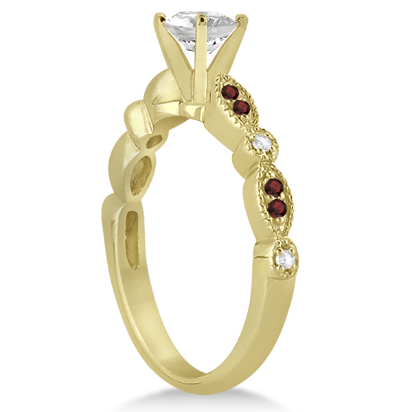 Marquise & Dot Garnet & Diamond Engagement Ring 18k Yellow Gold 0.24ct