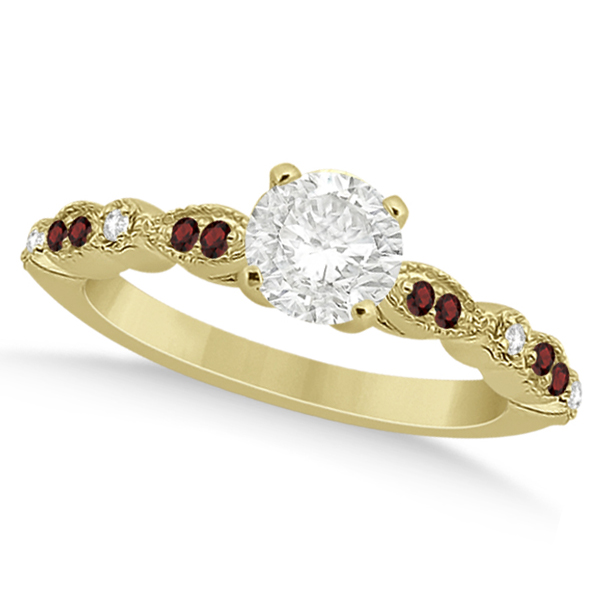 marquise dot garnet engagement ring 18k yellow