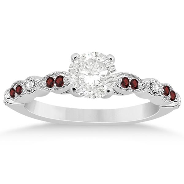 Marquise & Dot Garnet & Diamond Engagement Ring Palladium 0.24ct