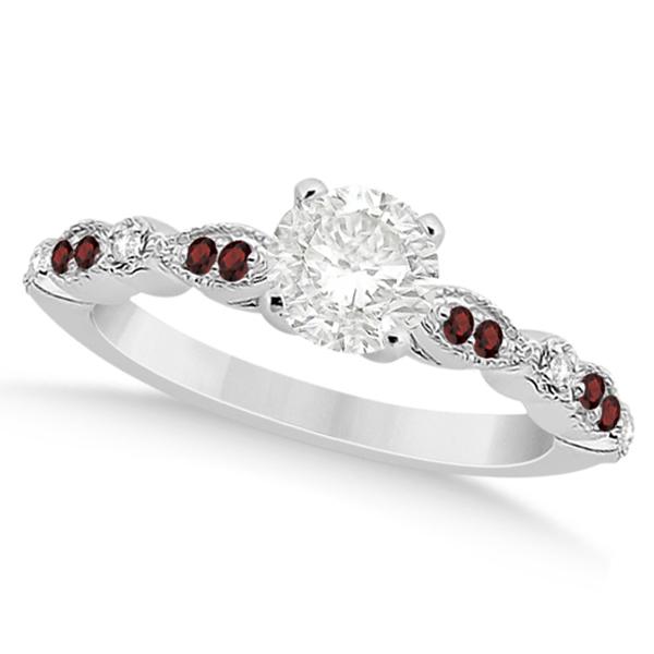Marquise & Dot Garnet & Diamond Engagement Ring Platinum 0.24ct