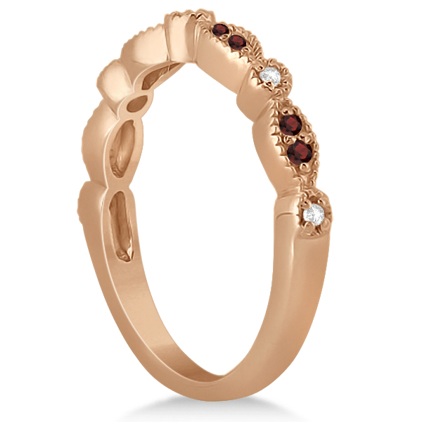 Marquise and Dot Garnet & Diamond Bridal Set 18k Rose Gold (0.49ct)