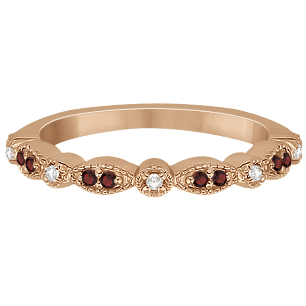 Marquise and Dot Garnet & Diamond Wedding Band 14k Rose Gold 0.25ct