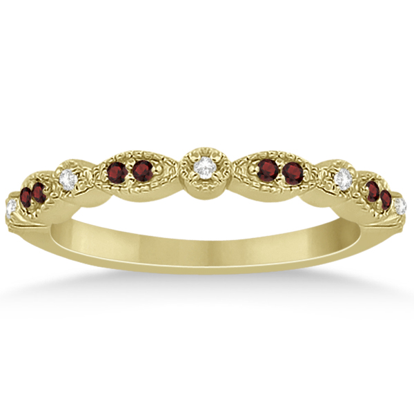Marquise and Dot Garnet & Diamond Wedding Band 18k Yellow Gold 0.25ct