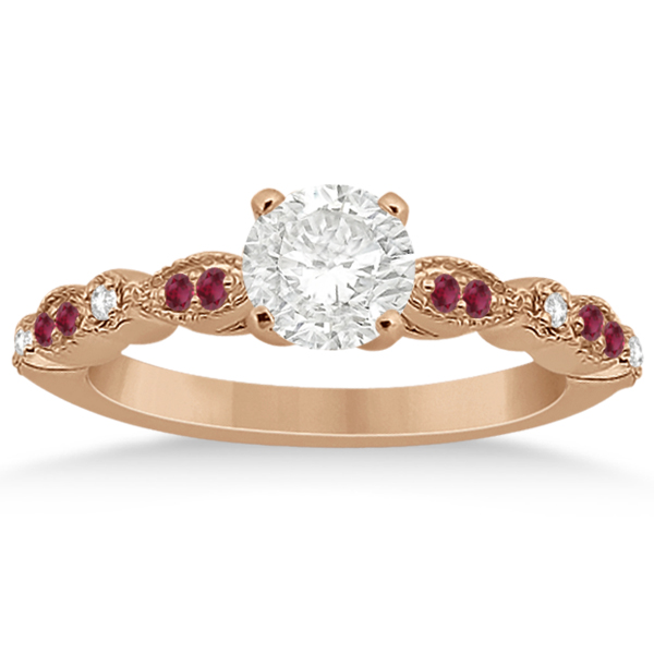 Ruby & Diamond Marquise Engagement Ring 14k Rose Gold (0.20ct)