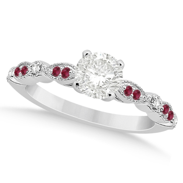 Ruby & Diamond Marquise Engagement Ring 14k White Gold (0.20ct)