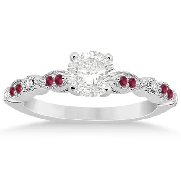 Ruby & Diamond Marquise Bridal Set Platinum (0.41ct)