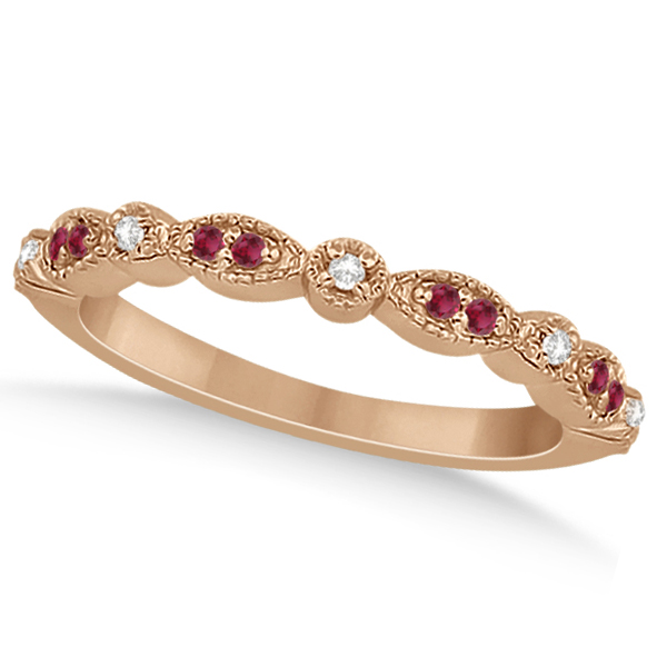 Ruby & Diamond Marquise Wedding Band 14k Rose Gold (0.21ct)