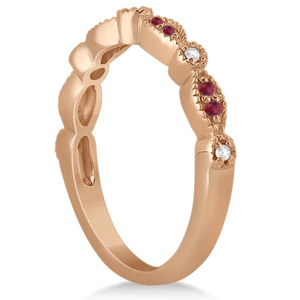 Ruby & Diamond Marquise Wedding Band 18k Rose Gold (0.21ct)