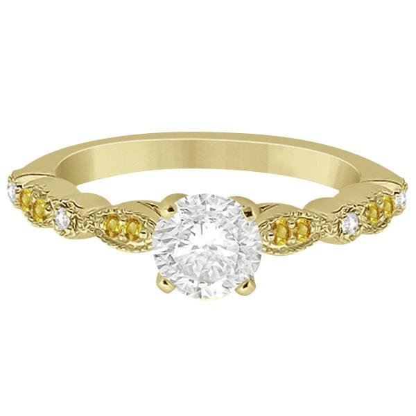 Yellow Sapphire Diamond Marquise Engagement Ring 14k Yellow Gold 0.24