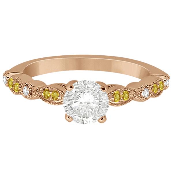 Yellow Sapphire Diamond Marquise Engagement Ring 18k Rose Gold 0.24
