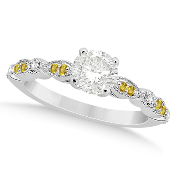 Yellow Sapphire Diamond Marquise Engagement Ring Palladium 0.24