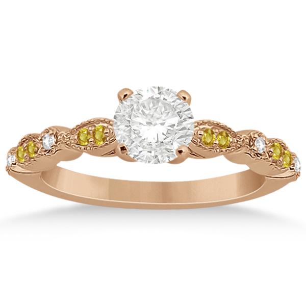 Yellow Sapphire & Diamond Marquise Bridal Set 14k Rose Gold (0.49ct)
