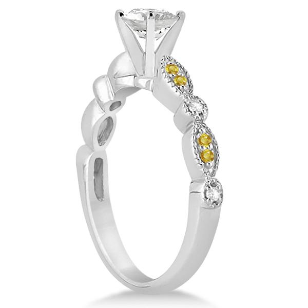 Yellow Sapphire & Diamond Marquise Bridal Set Palladium (0.49ct)