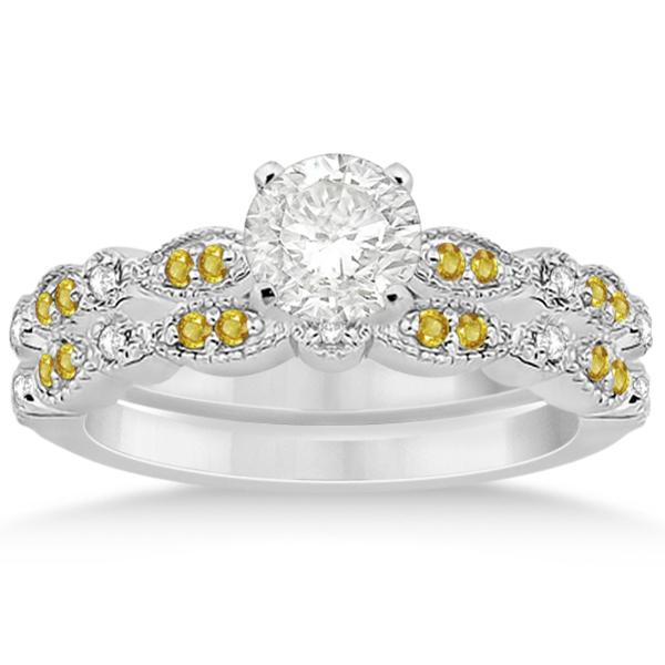 Yellow Sapphire & Diamond Marquise Bridal Set Platinum (0.49ct)