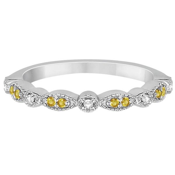 Yellow Sapphire & Diamond Marquise Wedding Band 18k White Gold 0.25ct