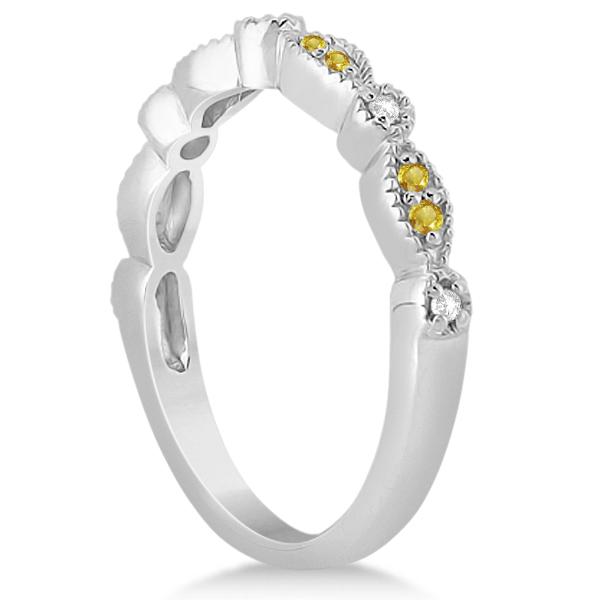Yellow Sapphire & Diamond Marquise Wedding Band Palladium 0.25ct