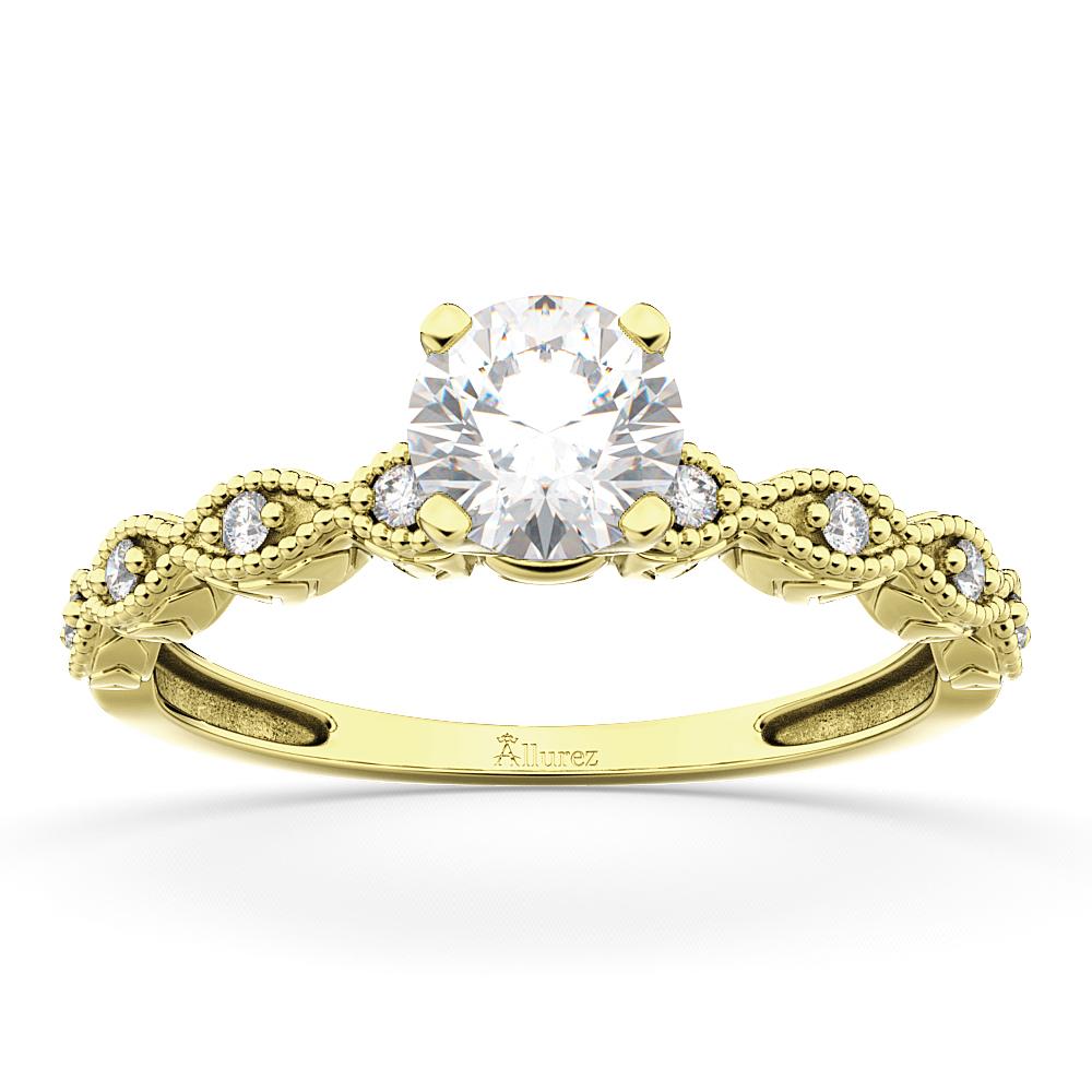 Petite Antique-Design Diamond Engagement Ring 14k Yellow Gold (0.50ct)