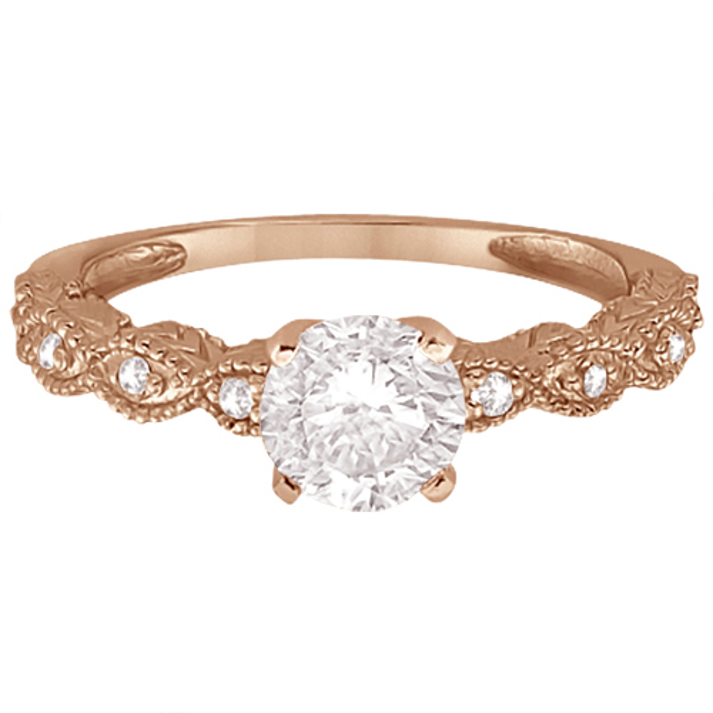 Petite Marquise Diamond Engagement Ring 14k Rose Gold (0.10ct)