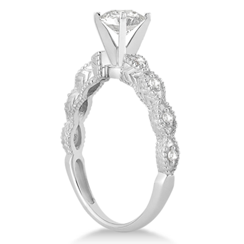 Petite Antique-Design Diamond Engagement Ring 14k White Gold (2.00ct)