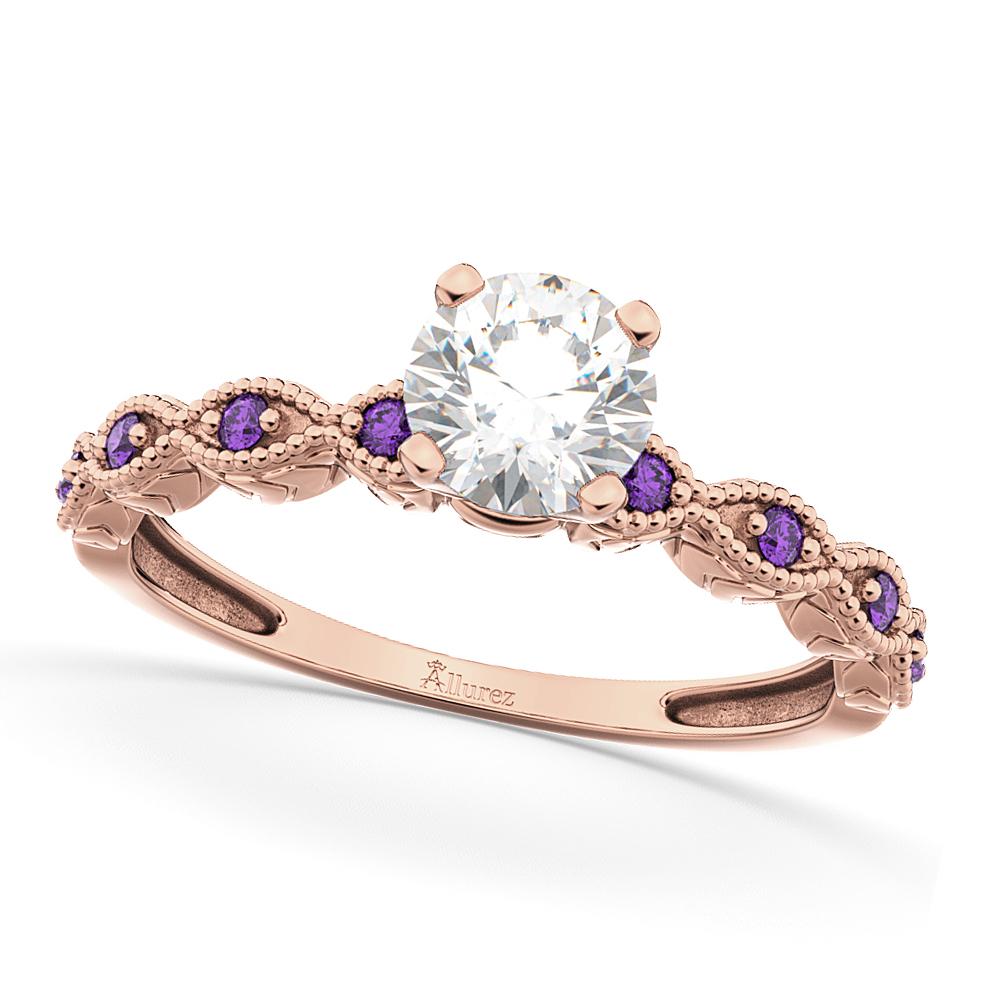 Vintage Diamond & Amethyst Engagement Ring 18k Rose Gold 0.50ct